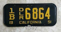 NOS 1951 DEALER Original CALIFORNIA License Plate Vintage For Display Only
