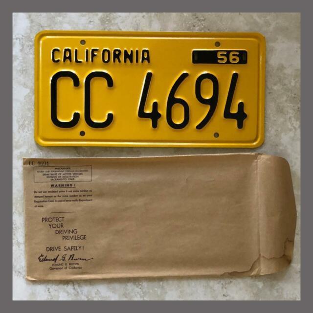 Nos 1956 California Trailer License Plate Original Dmv Clear Yom