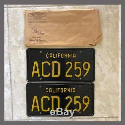 NOS 1963 CALIFORNIA License Plates Pair Original DMV Clear YOM 64 65 66 67 68 69