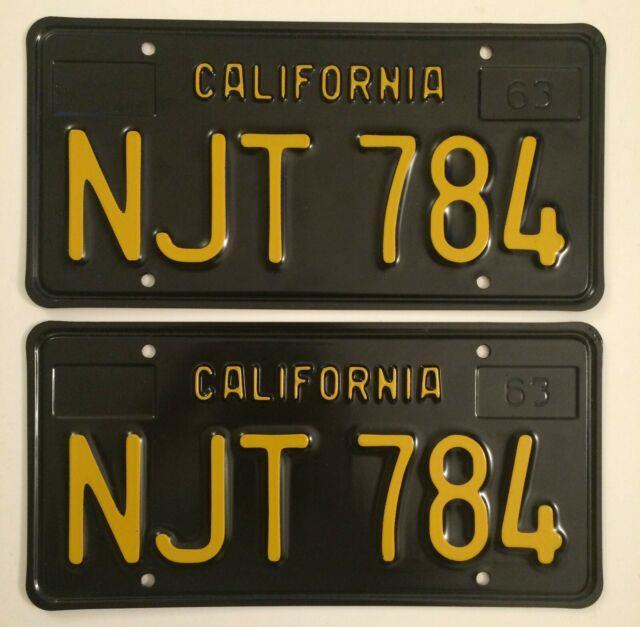 Nos 1963 California Ca Black License Plates Pair Unrestored Yom Dmv Clear