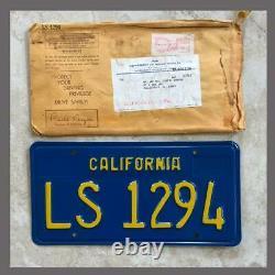 NOS 1970-1980 Trailer Original CALIFORNIA License Plate DMV Clear YOM