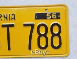 NOS California 1956 Yellow LICENSE PLATES 1957 1962 tag 1958 1959 1961 DMV clear