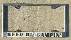 NOS Keep On Campin Vintage California Camping VW Volkswagen License Plate Frame