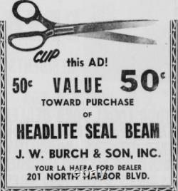 NOS La Habra California J. W. Burch & Son Ford Vintage FoMoCo License Plate Frame