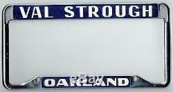 NOS Oakland California Val Strough Chevrolet Vintage Dealer License Plate Frame