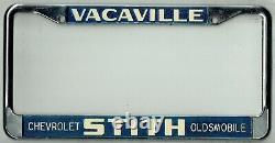 NOS Vacaville California Stith Chevrolet Oldsmobile Vintage License Plate Frame