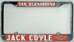 N. O. S San Bernardino California Jack Coyle Chevrolet Vintage License Plate Frame
