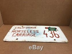 Nice 1956tag 1958dmv Clearhorseless Carriage (california)#436license Plate