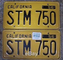 Nice Pair 1956 California Yellow Black License Plates 56 62 Sticker YOM