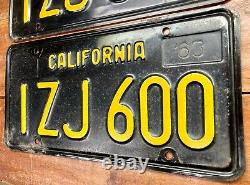 Nice Pair 1963 1968 1969 California License Plates Fiat 600 Mercedes 600 DMV Ok