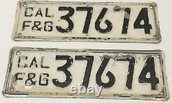 Nice Rare Pair California Fish & Game License Plates Boat / Truck