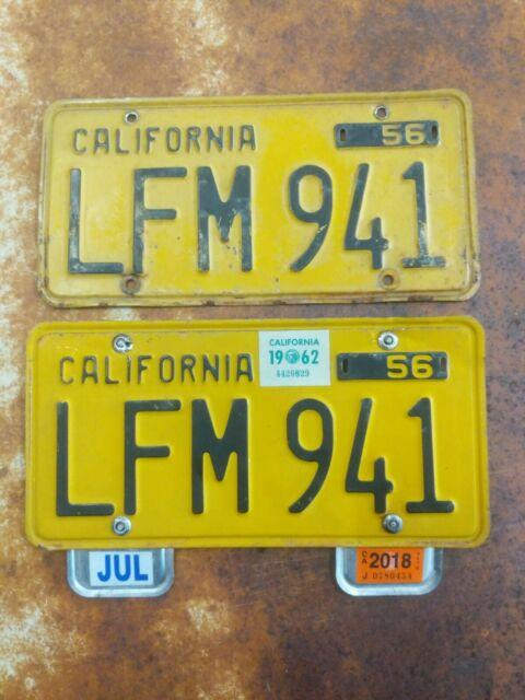 No Reserve California 1956 Set License Plates 1962 & 2018 Validation Dmv Clear