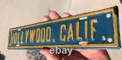 ORIGINAL California License Plate Topper EMBOSSED TIN Hollywood So Cal