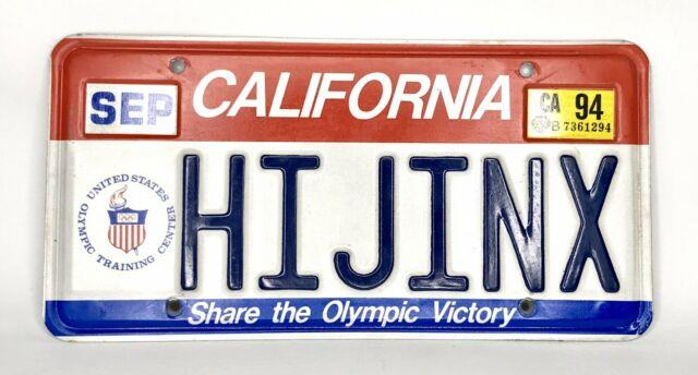 Olympic 1994 California License Plate Collector Red White Blue #hijinx Vanity