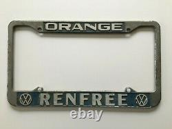 Orange, California RENFREE Volkswagen Vintage VW Dealer License Plate Frame