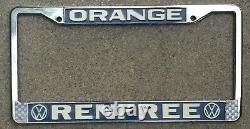 Orange California Renfree Volkswagen VW Vintage Bus Dealer License Plate Frame