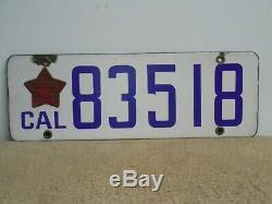 Original 1919 California Porcelain License Plate with Matching Star Tab