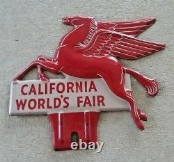 Original 1939 California World's Fair Mobil Pegasus License Plate Topper