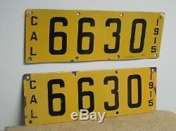 Original 4 Digit Pair 1915 California Porcelain License Plate