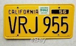 Original California 1956 LICENSE PLATES 1957 1958 1959 1960 1961 1962 tag YOM