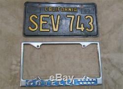 Original Gotelli Speed Shop License Plate Frame San Francisco Bay 60s-70s METAL