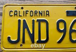 Original Vintage 1956 California License Plate Pair #JND 968 3 Day Auction