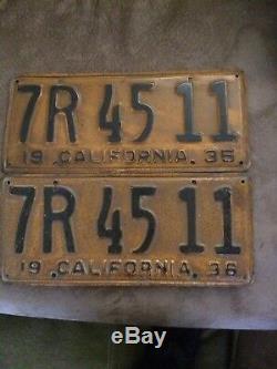Original unrestored 1936 California License Plates