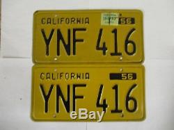 PAIR 1956 1962 California License Plate Tag