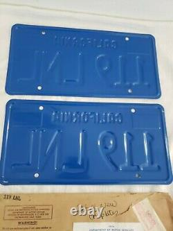 PAIR NEVER MOUNTED 1974 Blue California License Plates with1975 Shipping Envelope
