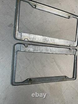 PAIR VINTAGE VAL STROUGH OAKLAND CALIFORNIA LICENSE PLATE FRAMES CHEVY Chevrolet