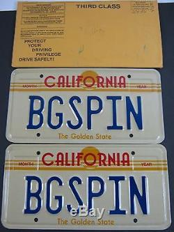 PERSONALIZED VANITY California License Plate BGSPIN Big Spin Lottery Calif