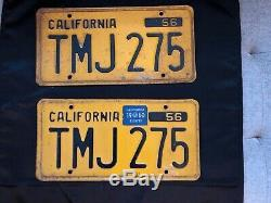 Pair Of Vintage 1956 California Yellow And Black Plates