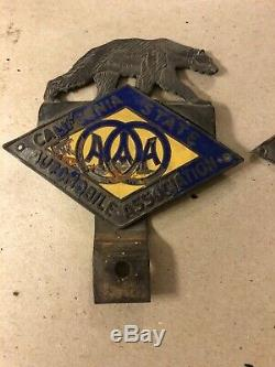 Porcelain California State Automobile Association Bear License Plate Toppers AAA