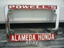 Powell's Alameda Honda motorcycle dealer license plate frame California vintage