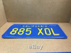 RAREPAIR1970s & 1980s DMV CLEAR (CALIFORNIA) 885 XOL LICENSE PLATEVINTAGE