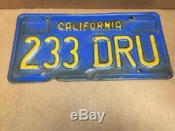 RAREPAIR1970s DMV CLEAR (CALIFORNIA) 233 DRU LICENSE PLATEVINTAGE