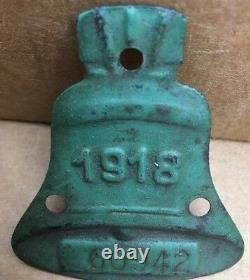 RARE 1918 CALIFORNIA License Plate Tag BEAR # 60942