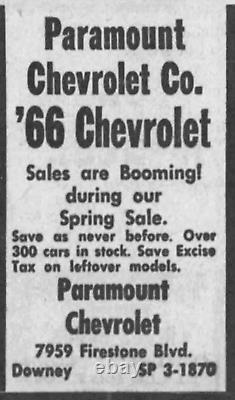 RARE Downey California Paramount Chevrolet Vintage GM Dealer License Plate Frame