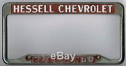 RARE El Segundo California Hessell Chevrolet Vintage Dealer License Plate Frame