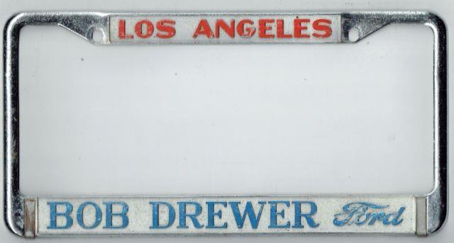 Rare Los Angeles California Bob Drewer Ford Vintage Dealer License Plate Frame
