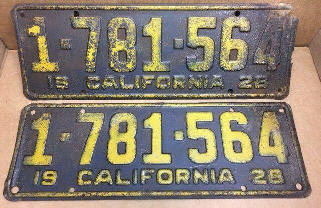 Rare Pair1928 Dmv Clear 1-781-564 (california)license Plates Vintage
