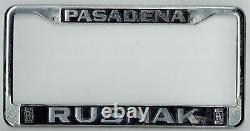 RARE Pasadena California Rusnak Rolls Royce Vintage Dealer License Plate Frame