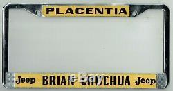 RARE Placentia California Brian Chuchua Jeep Vintage Dealer License Plate Frame