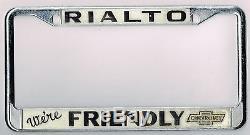 RARE Rialto California Friendly Chevrolet Vintage Dealer License Plate Frame
