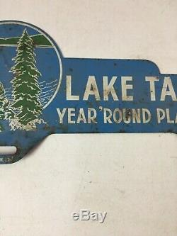 RARE Vintage License Plate Topper LAKE TAHOE California Year'Round Playground