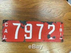 Rare 1914 Porcelain California License Plate