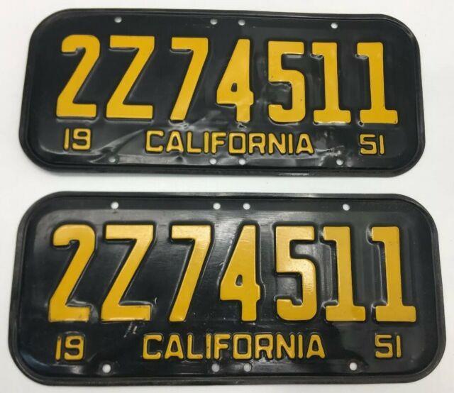 Rare 1951 Dmv Clear (california) 2z74511 License Plate-vintage