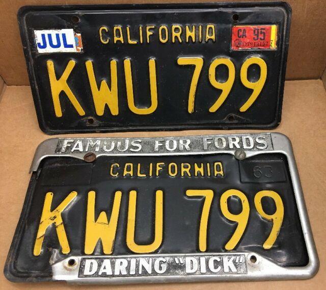 Rare 1963 Pair Dmv Clear-california-kwu 799 License Plate- Daringdickmustang