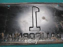 Rare #1 1937 California Governor License Plate # 1