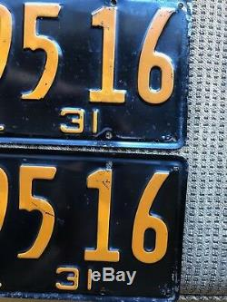 Rare California 1931 License Plates DMV Clear Two Pair Sequential Numbers